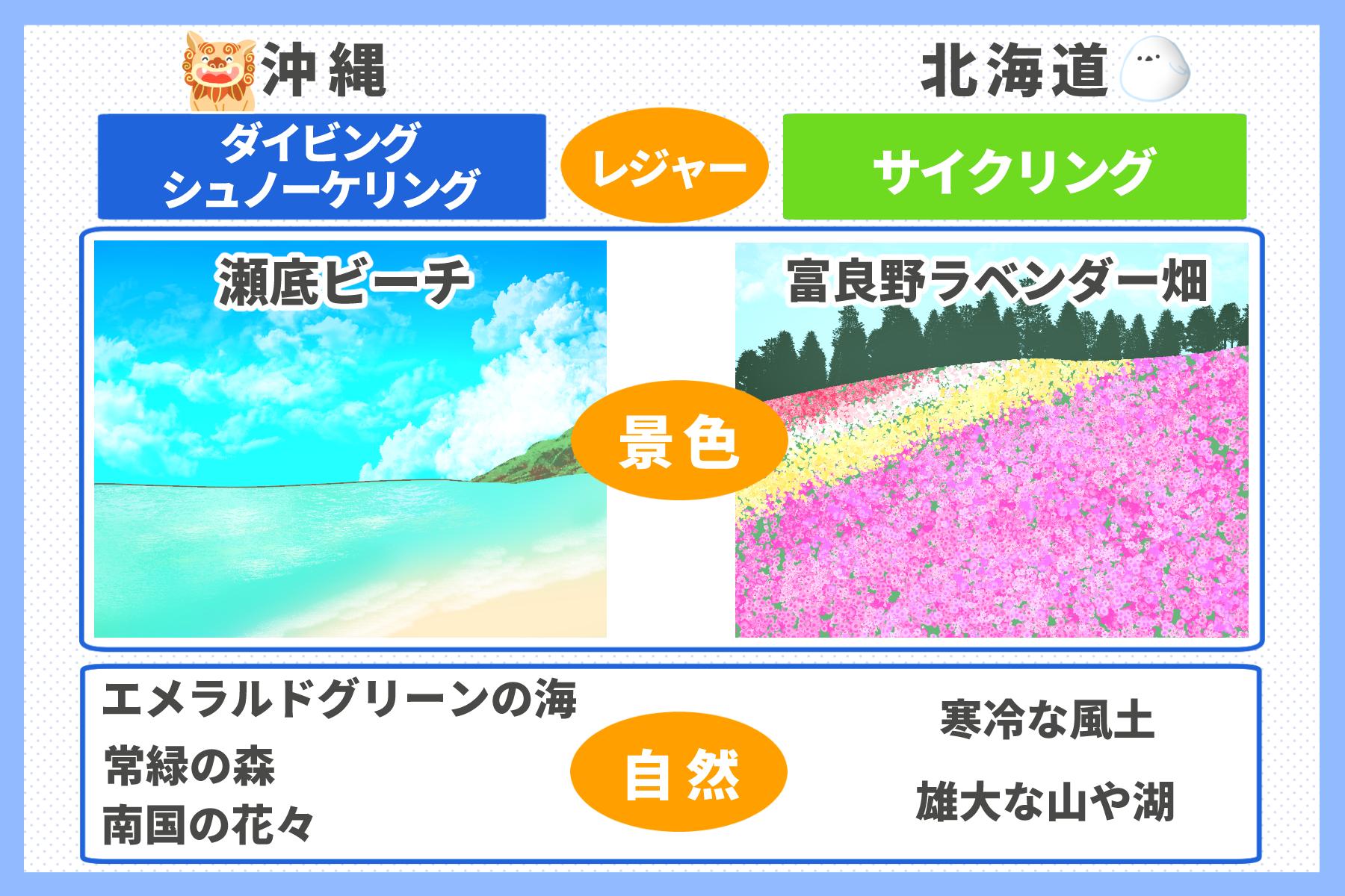 沖縄と北海道を比較
